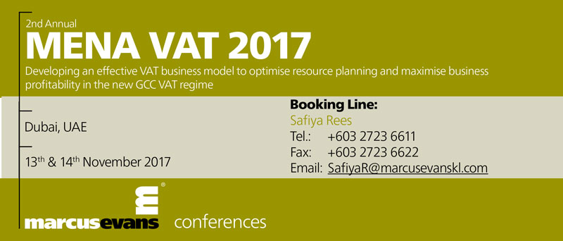 2nd Annual MENA VAT 2017 - Conference and Workshop